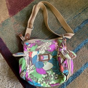 Large canvas Fossil bag with adjustable wide strap